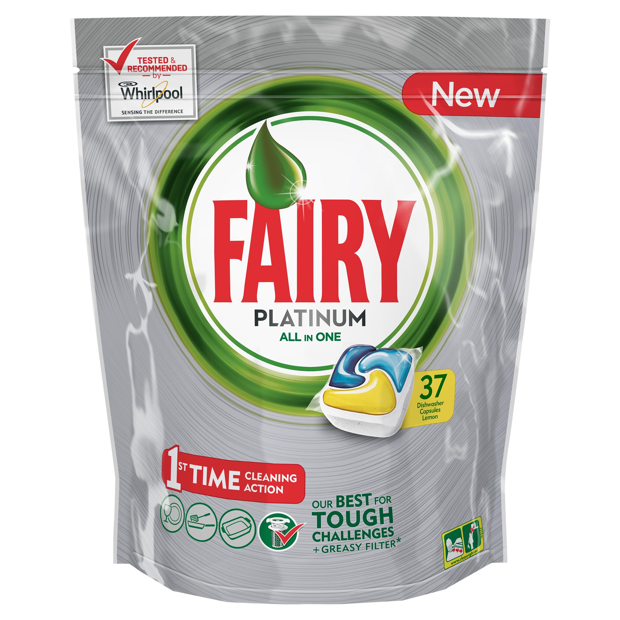 Капсулы для посудомоечной машины Fairy Platinum Лимон, 37 штFR-81607016Капсулы для посудомоечной машины Fairy Platinum All in One идеально отмоют посуду с 1-го раза и безупречно справятся с любыми сложными загрязнениями – от засохшего и пригоревшего жира до пятен от чая. С новыми капсулами Fairy Platinum ваша посуда будет сиять благодаря специальной формуле с усилителем блеска. Теперь вы можете готовить что угодно и быть уверенным, что ваша машинка с легкостью справится с грязной посудой благодаря Fairy Platinum. Капсула растворяется гораздо быстрее, чем другие таблетки для посудомоечной машины, и поэтому начинает действовать немедленно. Кроме того, капсулы Fairy очень просты в использовании – просто поместите их в посудомоечную машину (не нужно распаковывать). Сила Fairy Platinum теперь и для посудомоечных машин! Лучшая формула Fairy для идеально чистой посуды с 1-го раза. Легко справится даже с засохшей и пригоревшей грязью. Капсулы для посудомоечной машины Fairy Platinum All in One dishwasher tablets Такой сильный, что очистит даже фильтр от...