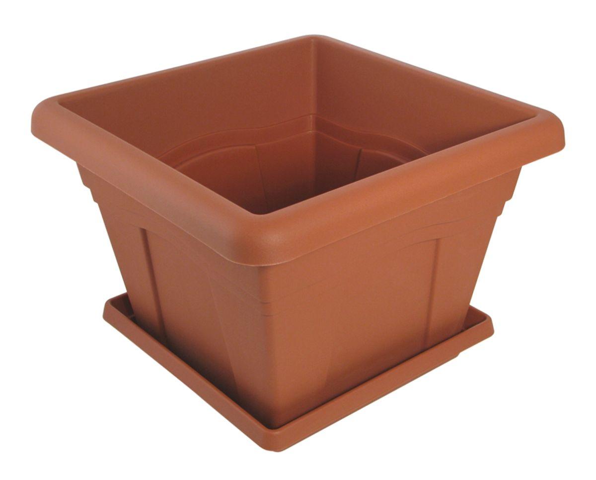 Горшок для цветов Martika Квадро, с поддоном, цвет: терракотовый, 12,2 лMRC165TГоршок Martika Квадро изготовлен из высококачественного пластика и оснащен поддоном для стока воды. Изделие прекрасно подойдет для выращивания растений дома и на приусадебных участках. Размеры изделия: 32 х 32 х 23,4 см.