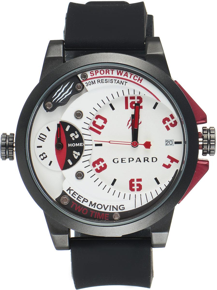 Наручные часы мужские Gepard, цвет: черный, красный. 1221A11L21221A11L2Наручные часы Gepard выполнены из металла и минерального стекла. Циферблат оформлен символикой бренда. Корпус часов оформлен матовой поверхностью с весьма оригинальным циферблатом. Часы оснащены кварцевым механизмом, дополнены устойчивым к царапинам минеральным стеклом. Ремешок выполнен из силикона и оснащен пряжкой, благодаря которой можно с легкостью снимать и надевать изделие.