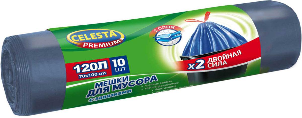 Мешки для мусора Celesta, 120 л, 10 шт, с завязками4500В 3 раза прочнее стандартного мешка; увеличенный полезный объем; при проколе мешок не рвется и не расползается