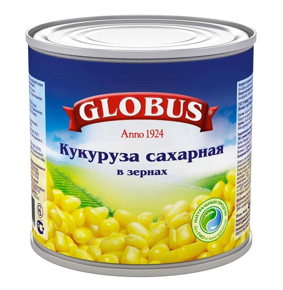 Globus кукуруза сладкая, 340 г4804Кукуруза в зернах Globus прекрасно сочетается с овощами, мясом, птицей, сыром, зеленью, яйцами, рисом и морепродуктами. Даже некоторые десерты содержат в своих рецептах консервированную кукурузу. Полезные свойства кукурузы. В организме людей, регулярно употребляющих консервированную кукурузу, увеличивается содержание магния, фолата и фолиевой кислоты. Эти микроэлементы хорошо укрепляют иммунитет и улучшают работу сердца.