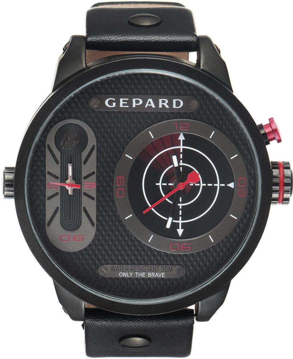 Наручные часы мужские Gepard, цвет: черный, красный. 1224A11L31224A11L3Наручные часы Gepard выполнены из металла и минерального стекла. Циферблат оформлен символикой бренда. На гильошированной поверхности два циферблата, позволяющих определить время в разных часовых поясах. При нажатии на кнопку над большой заводной головкой на круглом циферблате запускается и останавливается вращение сектора, обегающего круг за четыре секунды. Корпус изделия оснащен кварцевым механизмом, дополнен устойчивым к царапинам минеральным стеклом. Ремешок выполнен из искусственной кожи и оснащен пряжкой, благодаря которой можно с легкостью снимать и надевать изделие.