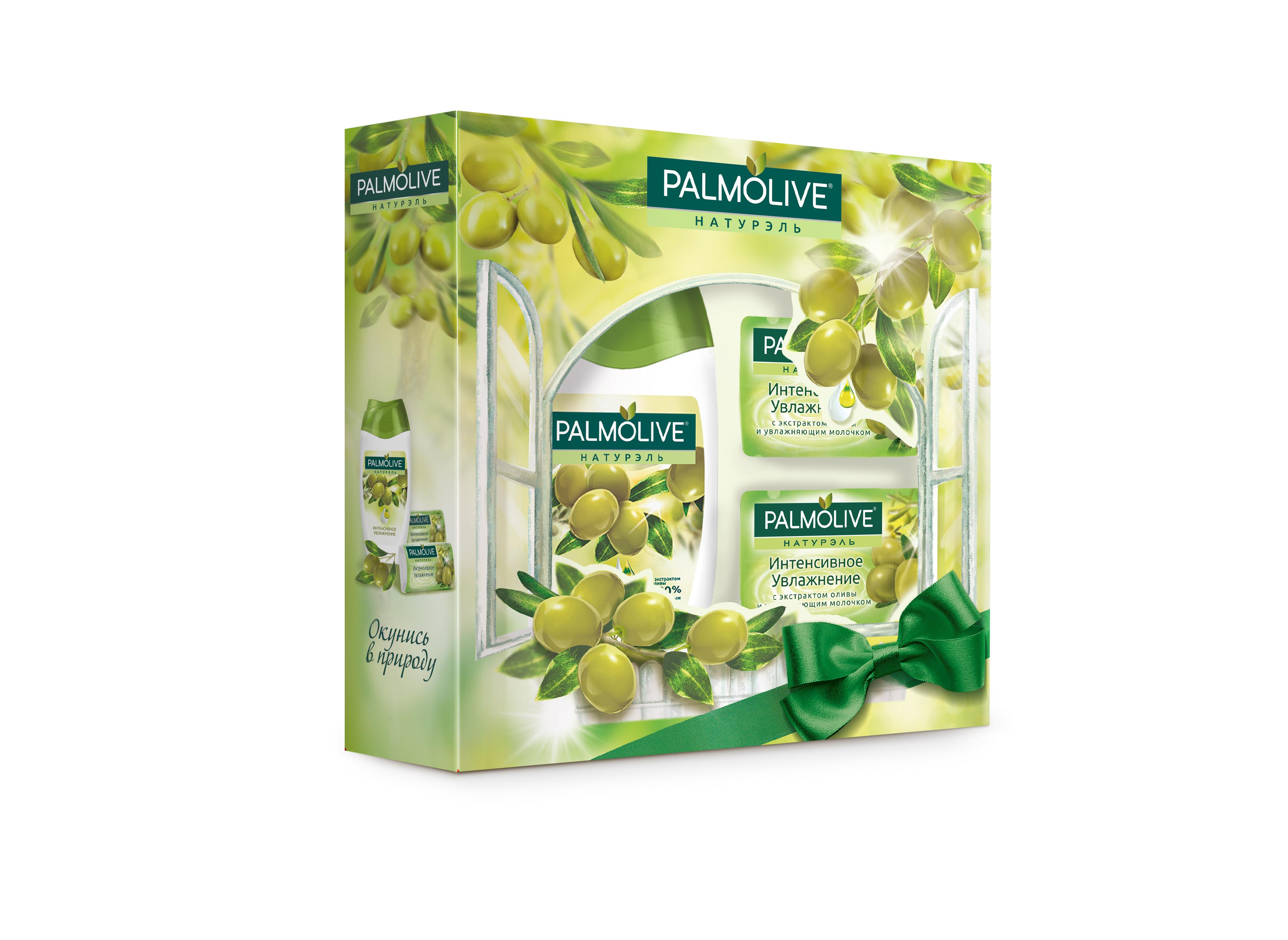Подарочный набор Palmolive Натурэль Интенсивное Увлажнение с экстрактом оливыперфорационные unisexГель для душа Олива 250мл - 1шт, кусковое мыло Олива 2шт - 2шт в коробке