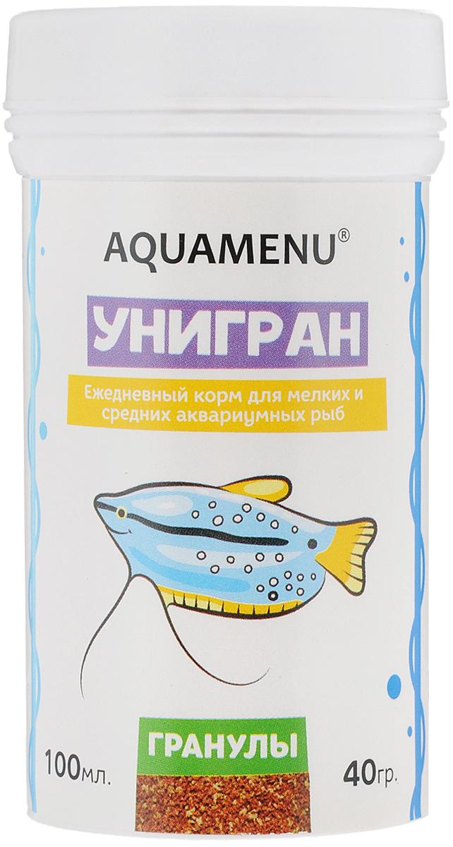 Корм Aquamenu Унигран для мелких и средних аквариумных рыб, 40 г0120710Хлопьевидный корм Aquamenu Унигран предназначен для ежедневного кормления большинства видов аквариумных рыб. Корм производится по современной технологии из натуральных продуктов животного и растительного происхождения методом инфракрасной сушки. Связующие ингредиенты делают корм более экзотичным, ограничивая вымывание питательных веществ, аминокислот и витаминов во время пребывания в воде. Aquamenu Унигран предназначен для ежедневного кормления большинства видов аквариумных рыб: живородящих цихлид, харациновых, лабиринтовых, карповых, различных сомов и других рыб длиною 3-10 см.Состав: рыбная, пшеничная, соевая, травяная и водорослевая мука, крапива, микроэлементы, витамины A, B1, B2, B3, B4, B5, B6, B7, B8, B12, C, D3, E, K, H и специальные добавки.Товар сертифицирован.