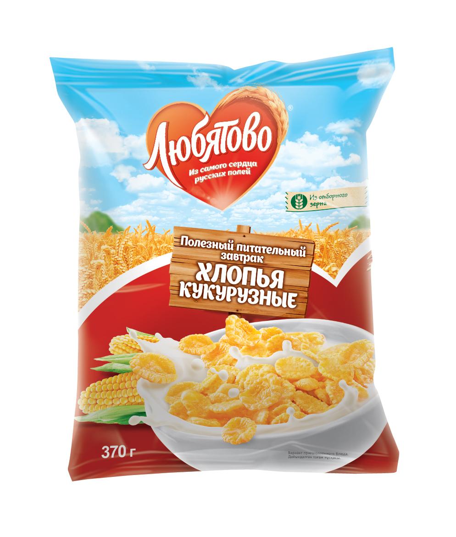 Любятово Готовый завтрак Хлопья кукурузные, 370 г1491Полезный завтрак из цельных злаков.