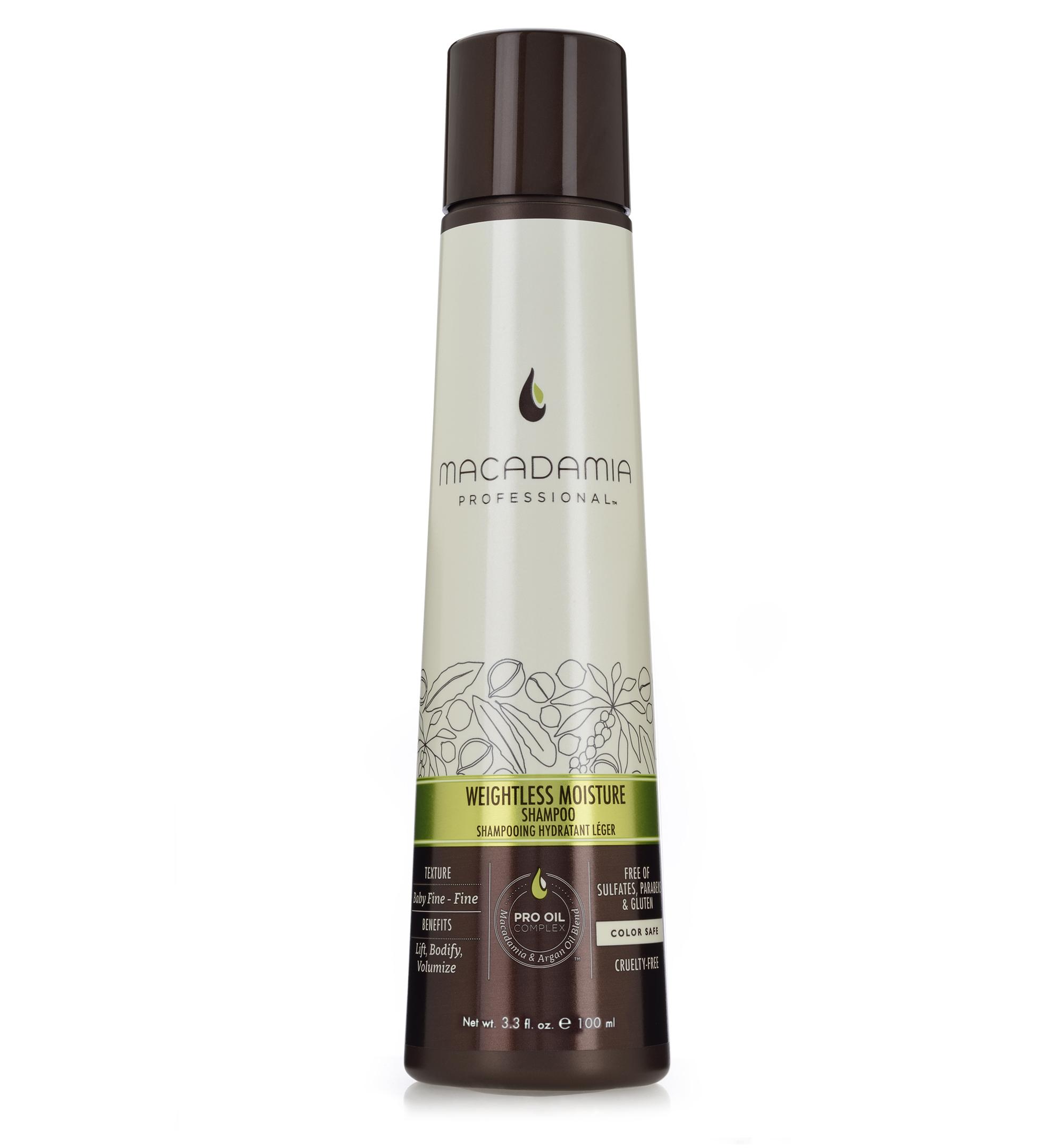 Macadamia Professional Шампунь увлажняющий для тонких волос,100 мл100101Увлажняющий шампунь Macadamia Professional восстанавливает баланс влаги, придает плотность и объем даже самым тонким волосам. Содержит эксклюзивный Pro Oil Complex с маслами макадамии и арганы, масла авокадо и лесного ореха, которые обеспечивают увлажнение и восстановление, увеличивают плотность тонких волос, питают кожу головы. Содержит UVA/UVB фильтры, сохраняет цвет окрашенных волос. Защищает от воздействия неблагоприятных факторов окружающей среды.