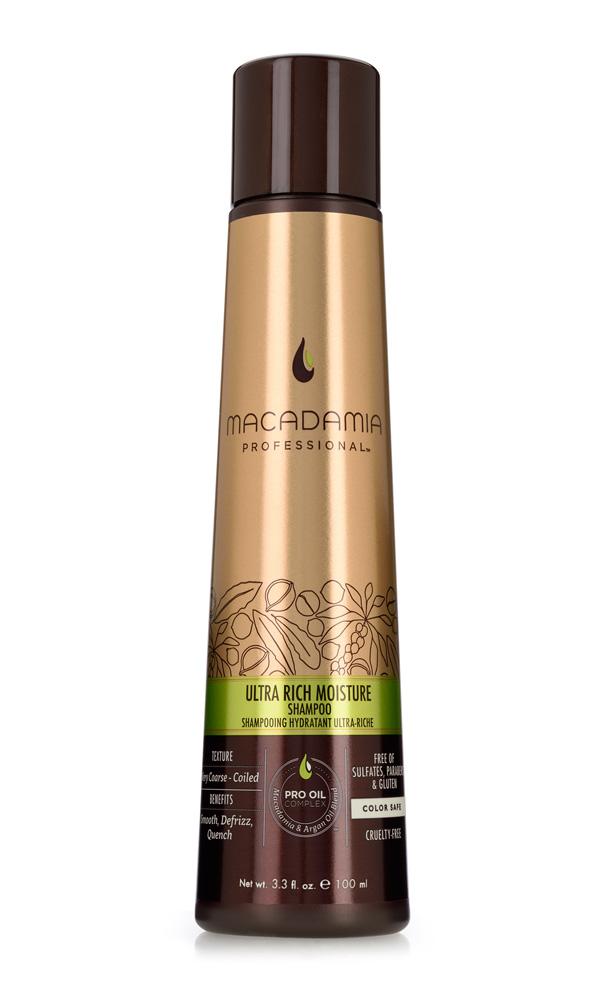 Macadamia Professional Шампунь увлажняющий для жестких волос, 100 мл100301Шампунь Macadamia Professional обеспечивает глубокое увлажнение волос и кожи головы благодаря сочетанию эксклюзивного комплекса Pro Oil Complex, масел авокадо и монгонго. Убирает эффект пушистости, делает волосы мягкими. Содержит UVA/UVB фильтры, сохраняя цвет окрашенных волос. Защищает волосы от неблагоприятных факторов окружающей среды.