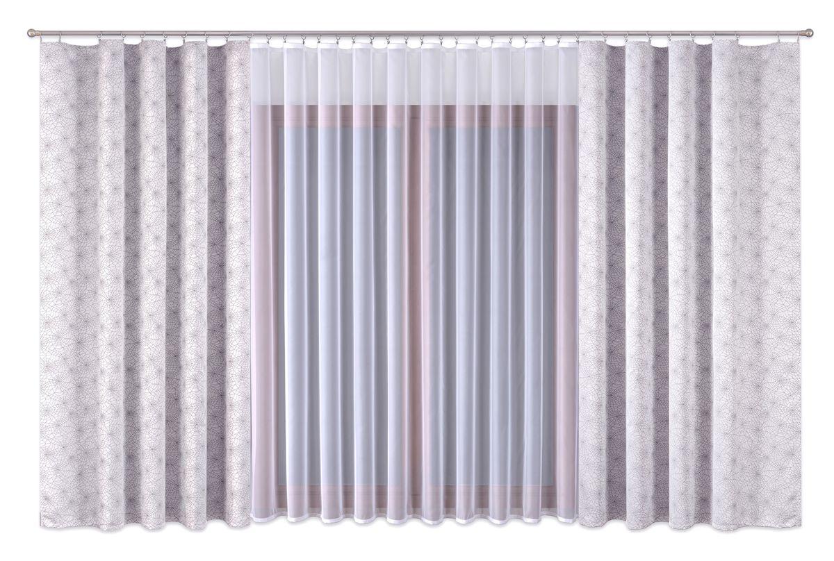 Комплект штор P Primavera Firany, цвет: серый, белый, высота 280 см. 11100061110006Комплект штор из полиэстровой жаккардовой ткани с пришитой шторной лентой. В комплете тоже занавеска с лентой (полиэстровый буаль).Размер шторы - ширина 180 см высота 280см. Набор 2 штуки. Размер занавески: ширина 400см высота 280см. Цвет штор серый. Цвет занавески белый. Размер: ширина 400 х высота 280