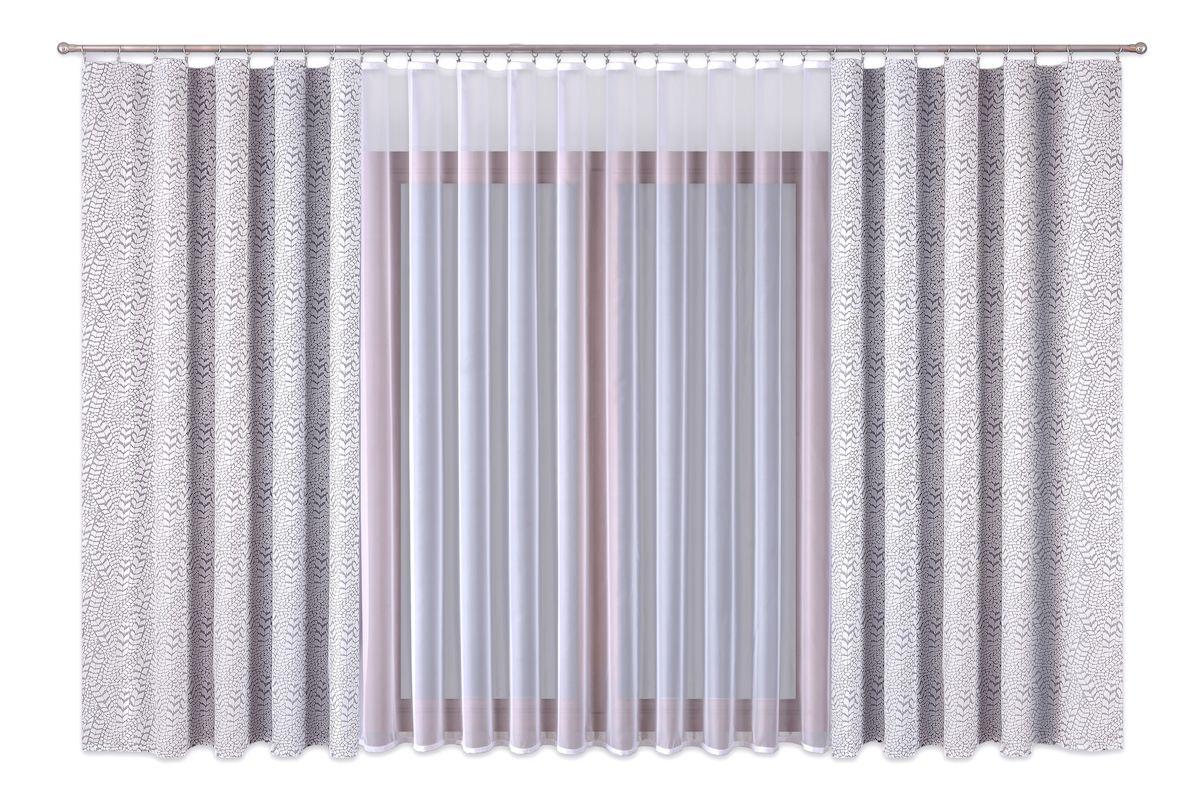 Комплект штор P Primavera Firany, на ленте, цвет: серый, белый, высота 260 см. 111001210503Роскошный комплект штор P Primavera Firany, выполненный из полиэстровой жаккардовой ткани, великолепно украсит любое окно. Комплект состоит из двух штор и тюля с пришитой шторной лентой. Изящный рисунок и приятная цветовая гамма привлекут к себе внимание и органично впишутся в интерьер помещения.Этот комплект будет долгое время радовать вас и вашу семью!