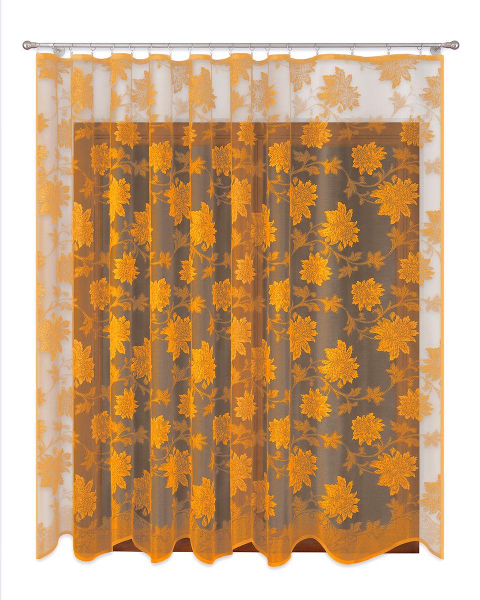 Тюль P Primavera Firany, цвет: золотистый, высота 270 см. 111016110503Тюль жаккардовая с пришитойшторной лентой. Размер: ширина500см высота 270см. Цвет золото.Размер: ширина 500 х высота 270