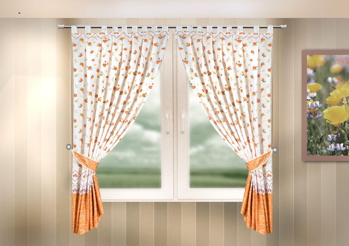 Комплект штор для кухни Zlata Korunka, на петлях, цвет: оранжевый, высота 170 см. 33331610503Комплект штор для кухни Zlata Korunka, выполненный из полиэстера, великолепно украсит любое окно. Комплект состоит из 2 штор и 2 подхватов. Цветочный рисунок и приятная цветовая гамма привлекут к себе внимание и органично впишутся в интерьер помещения. Этот комплект будет долгое время радовать вас и вашу семью!Комплект крепится на карниз при помощи петель.В комплект входит: Штора: 2 шт. Размер (Ш х В): 140 х 170 см.Подхват: 2 шт.