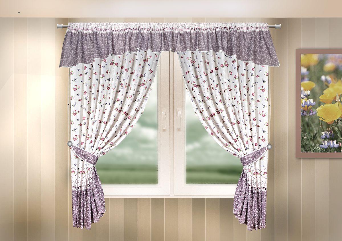 Комплект штор для кухни Zlata Korunka, на кулиске, цвет: сиреневый, высота 170 см. 333327333327Комплект штор для кухни Zlata Korunka, выполненный из полиэстера, великолепно украсит любое окно. Комплект состоит из ламбрекена, 2 штор и 2 подхватов. Цветочный рисунок и приятная цветовая гамма привлекут к себе внимание и органично впишутся в интерьер помещения. Этот комплект будет долгое время радовать вас и вашу семью! Комплект крепится на карниз при помощи кулиски. В комплект входит: Ламбрекен: 1 шт. Размер (Ш х В): 290 х 35 см. Штора: 2 шт. Размер (Ш х В): 140 х 170 см. Подхват: 2 шт.