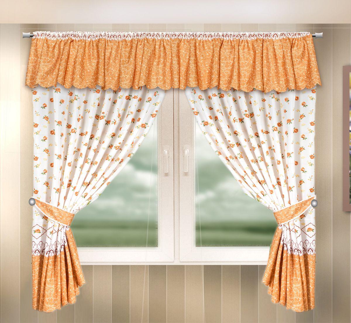 Комплект штор для кухни Zlata Korunka, на кулиске, цвет: оранжевый, высота 170 см. 333329333329Комплект штор для кухни Zlata Korunka, выполненный из полиэстера, великолепно украсит любое окно. Комплект состоит из ламбрекена, 2 штор и 2 подхватов. Цветочный рисунок и приятная цветовая гамма привлекут к себе внимание и органично впишутся в интерьер помещения. Этот комплект будет долгое время радовать вас и вашу семью! Комплект крепится на карниз при помощи кулиски. В комплект входит: Ламбрекен: 1 шт. Размер (Ш х В): 290 х 35 см. Штора: 2 шт. Размер (Ш х В): 140 х 170 см. Подхват: 2 шт.