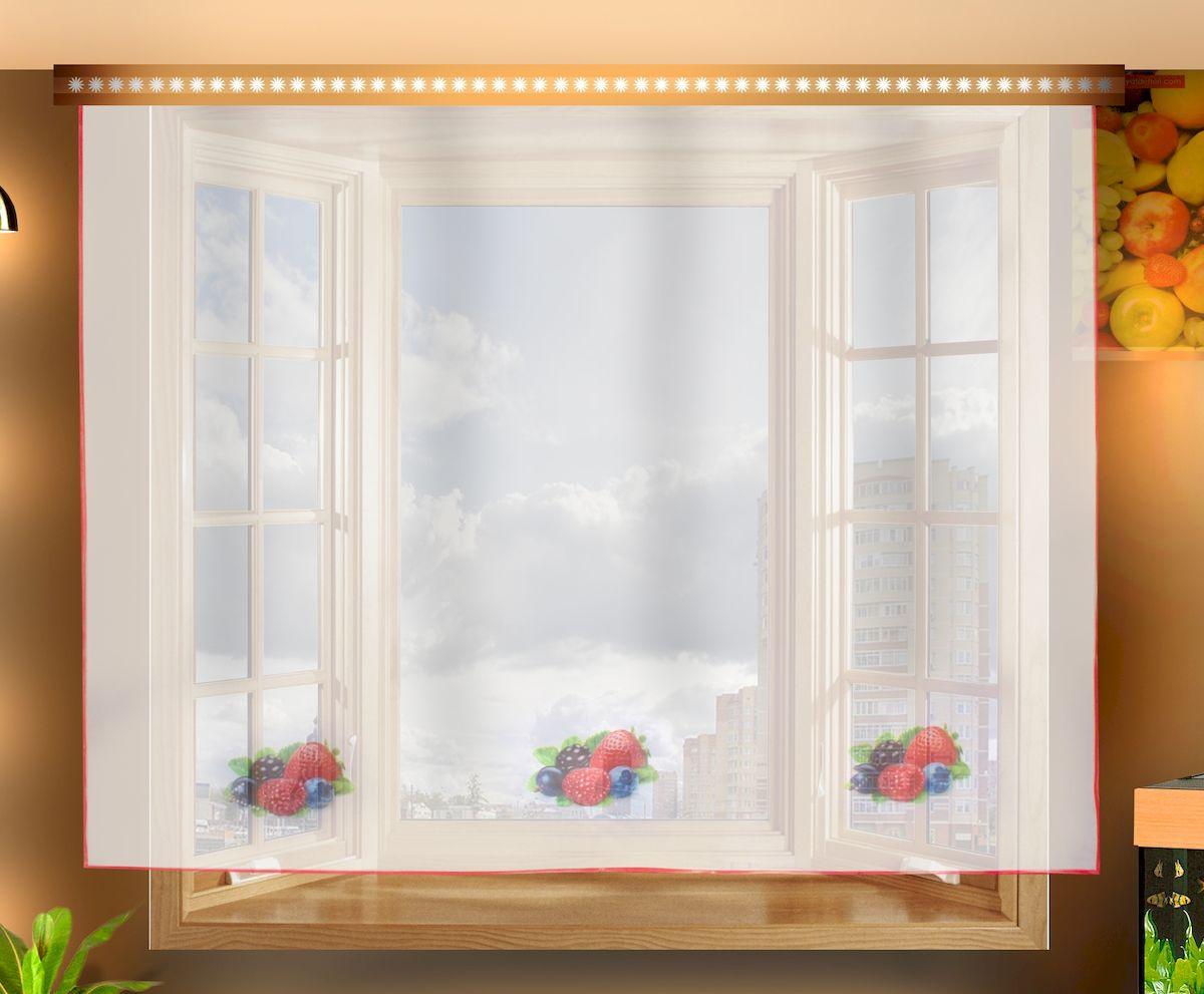 Штора для кухни Zlata Korunka, на ленте, цвет: белый, высота 150 см. 333331333331Штора Zlata Korunka, изготовленная из полиэстера, станет великолепным украшением любого окна. Полотно из белой вуали с рисунком в виде ягод привлечет к себе внимание и органично впишется в интерьер кухни. Штора крепится на карниз при помощи ленты, которая поможет красиво и равномерно задрапировать верх.
