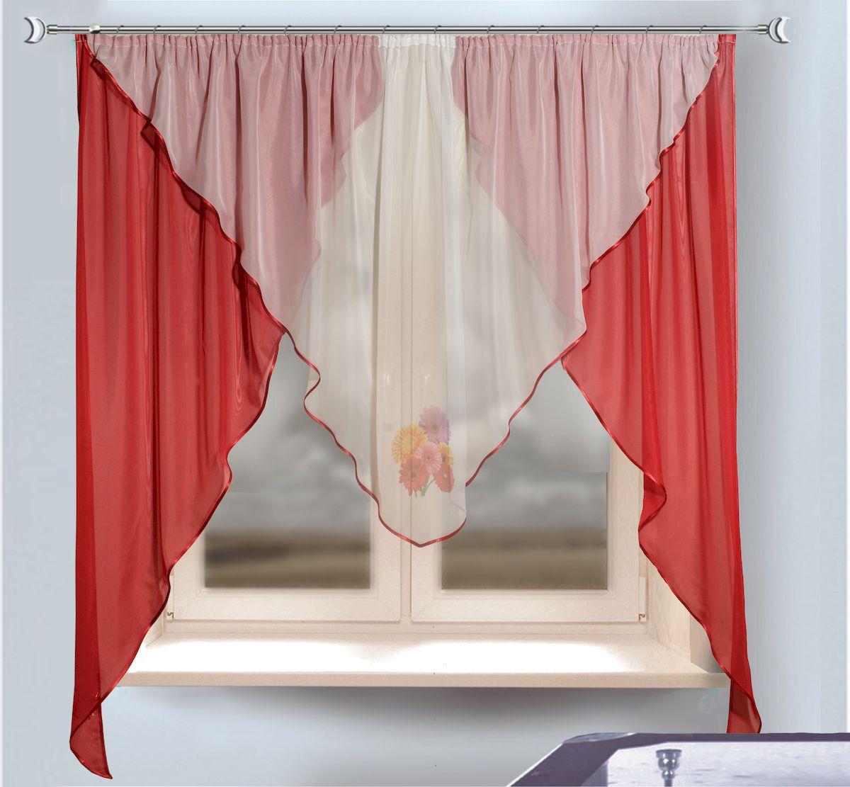 Комплект штор для кухни Zlata Korunka, на ленте, цвет: бордовый, белый, высота 170 см. 333339333339Комплект штор для кухни Zlata Korunka, выполненный из полиэстера, великолепно украсит любое окно. Комплект состоит из тюля, ламбрекена и двух штор. Оригинальный крой и приятная цветовая гамма привлекут к себе внимание и органично впишутся в интерьер помещения. Этот комплект будет долгое время радовать вас и вашу семью! Комплект крепится на карниз при помощи ленты, которая поможет красиво и равномерно задрапировать верх. В комплект входит: Ламбрекен: 1 шт. Размер (Ш х В): 280 х 115 см. Тюль: 1 шт. Размер (Ш х В): 280 х 170 см. Штора: 2 шт. Размер (Ш х В): 130 х 170 см.