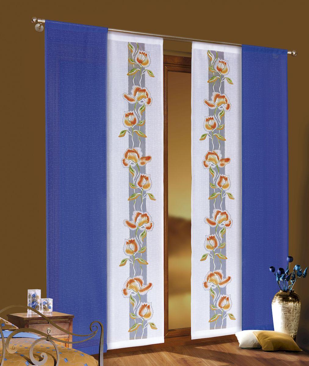 Комплект гардин-панно Wisan, цвет: синий, оранжевый, высота 220 см. 34573457Комплект гардин, крепление на штангу. 4 шт Размер: ширина 49 x высота 220 x 4