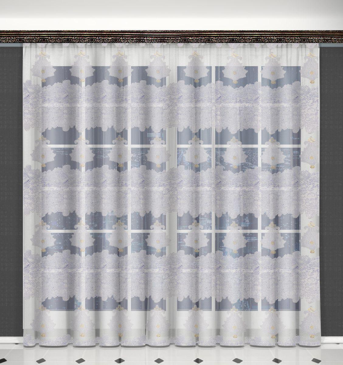 Тюль Zlata Korunka, на ленте, цвет: белый, золотистый, высота 270 см. 5562955629Тюль Zlata Korunka, изготовленный из полиэстера, великолепно украсит любое окно. Воздушная ткань и оригинальный орнамент привлекут к себе внимание и органично впишутся в интерьер помещения. Полиэстер - вид ткани, состоящий из полиэфирных волокон. Ткани из полиэстера - легкие, прочные и износостойкие. Такие изделия не требуют специального ухода, не пылятся и почти не мнутся. Тюль крепится на карниз при помощи ленты, которая поможет красиво и равномерно задрапировать верх. Такой тюль идеально оформит интерьер любого помещения.