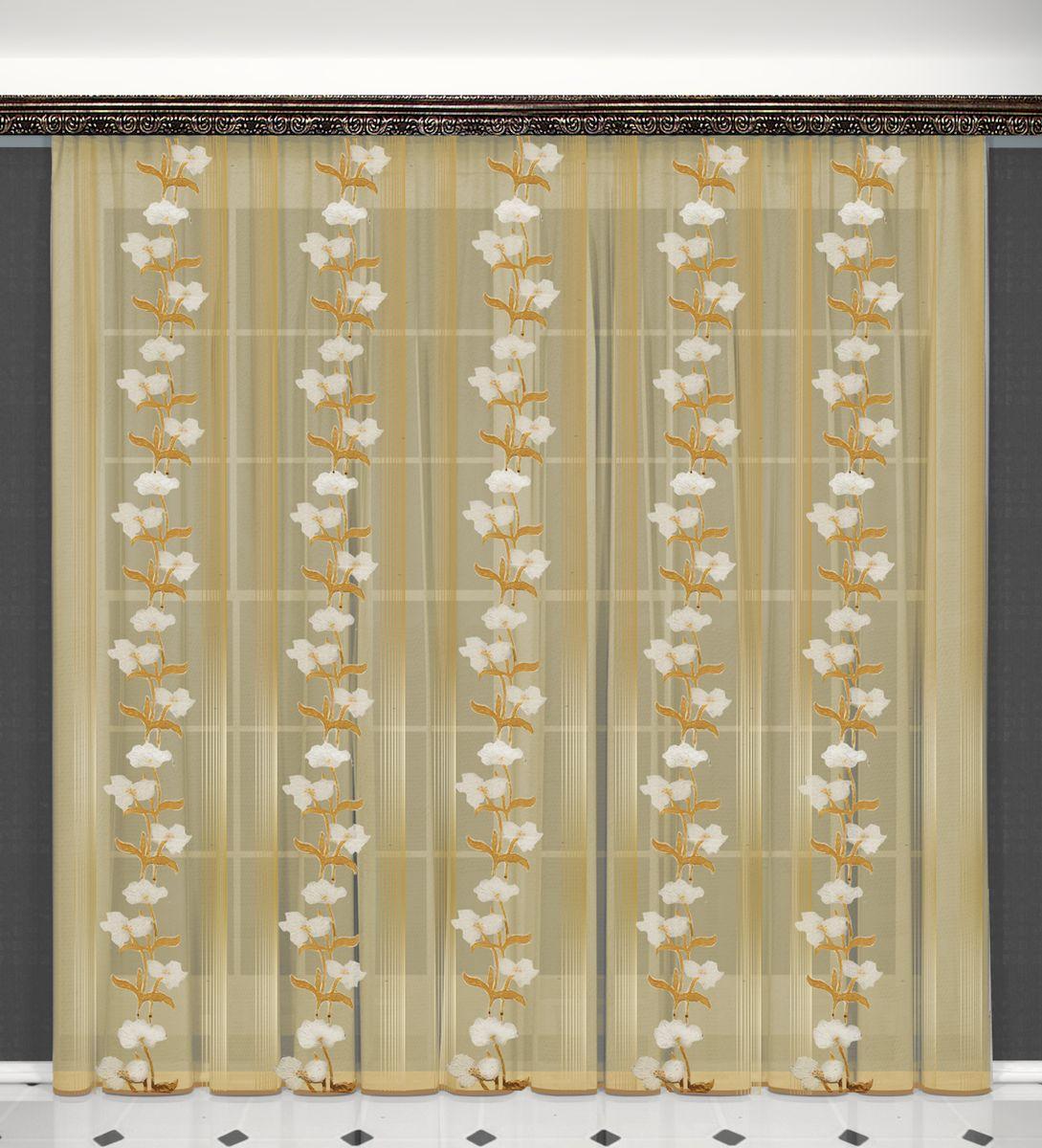 Тюль Zlata Korunka, на ленте, цвет: бежевый, высота 270 см. 55632S03301004Тюль Zlata Korunka, изготовленный из полиэстера, великолепно украсит любое окно. Воздушная ткань и нежный цветочный рисунок привлекут к себе внимание и органично впишутся в интерьер помещения. Полиэстер - вид ткани, состоящий из полиэфирных волокон. Ткани из полиэстера - легкие, прочные и износостойкие. Такие изделия не требуют специального ухода, не пылятся и почти не мнутся.Тюль крепится на карниз при помощи ленты, которая поможет красиво и равномерно задрапировать верх. Такой тюль идеально оформит интерьер любого помещения.