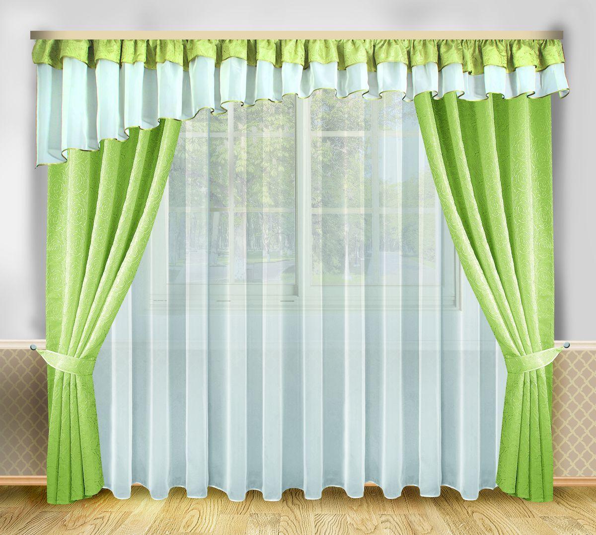 Комплект штор Zlata Korunka, на ленте, цвет: зеленый, белый, высота 250 см. 6665466654Роскошный комплект штор Zlata Korunka, выполненный из полиэстера, великолепно украсит любое окно. Комплект состоит из тюля, ламбрекена, двух штор и двух подхватов. Изящный узор и приятная цветовая гамма привлекут к себе внимание и органично впишутся в интерьер помещения. Этот комплект будет долгое время радовать вас и вашу семью! Комплект крепится на карниз при помощи ленты, которая поможет красиво и равномерно задрапировать верх. В комплект входит: Тюль: 1 шт. Размер (Ш х В): 400 см х 250 см. Ламбрекен: 1 шт. Размер (Ш х В): 560 см х 70 см. Штора: 2 шт. Размер (Ш х В): 138 см х 250 см. Подхват: 2 шт.