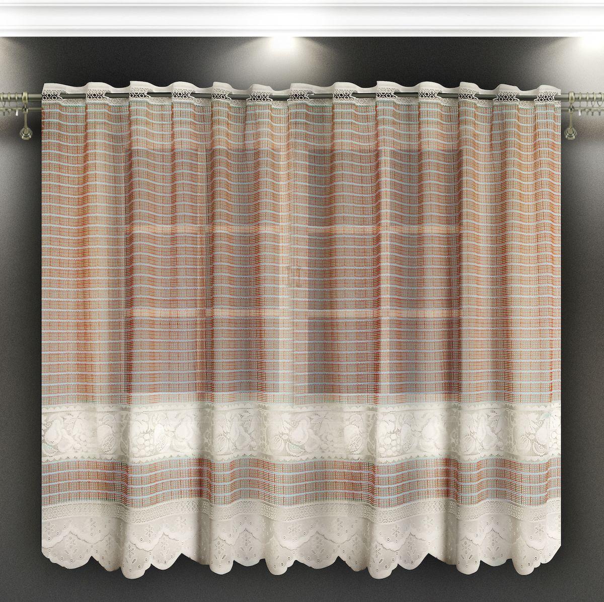 Гардина Zlata Korunka, на зажимах, цвет: бежевый, высота 160 см. 8886988869Гардина Zlata Korunka, изготовленная из высококачественного полиэстера, станет великолепным украшением любого окна. Тюле-кружевная текстура полотна привлечет к себе внимание и органично впишется в интерьер. Оригинальное оформление гардины внесет разнообразие и подарит заряд положительного настроения. Крепится на зажимах для штор.