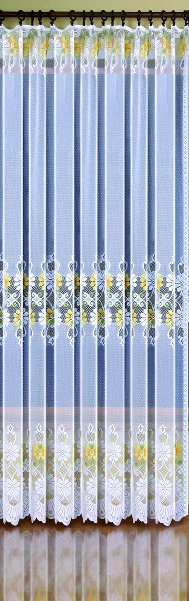 Гардина-тюль Wisan Ewelina, на ленте, цвет: белый, желтый, высота 250 см. 937810503Жаккардовая гардина-тюль Wisan, выполненная из легкого полиэстера, станет великолепным украшением окна в спальне или гостиной. Изделие дополнено красивыми яркими цветочными узорами по всей поверхности полотна. Качественный материал, тонкое плетение и оригинальный дизайн привлекут к себе внимание и позволят гардине органично вписаться в интерьер помещения. Гардина оснащена шторной лентой для крепления на карниз. Отлично подходит по размеру под балконный блок.