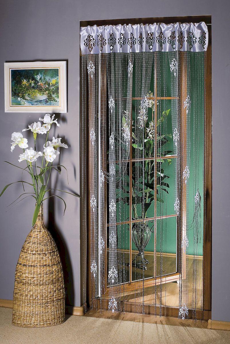 Гардина-лапша Wisan, цвет: белый, серебристый, высота 250 см. 99109910Гардина нитяная жаккардовая серебристо-белого цвета с повторяющимся узором. Крепится на кулиску. Размер: ширина 150 x высота 250