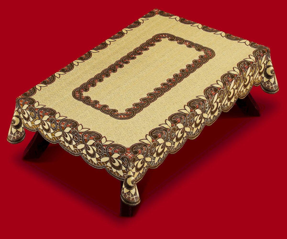 Скатерть Haft, прямоугольная, цвет: коричневый, бежевый, 120 x 170 см. 38780VT-1520(SR)Великолепная скатерть Haft, выполненная из полиэстера, органично впишется в интерьер любого помещения, а оригинальный дизайн удовлетворит даже самый изысканный вкус.Скатерть Haft создаст праздничное настроение и станет прекрасным дополнением интерьера гостиной, кухни или столовой.
