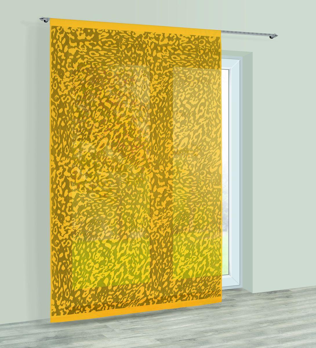 Гардина Haft, на кулиске, цвет: желтый, высота 250 см. 228540228540/250 золотоГардина Haft великолепно украсит любое окно. Изделие выполнено из полиэстера и декорировано под окрас животного. Изделие имеет оригинальный дизайн и органично впишется в интерьер помещения. Гардина крепится на карниз при помощи кулиски.