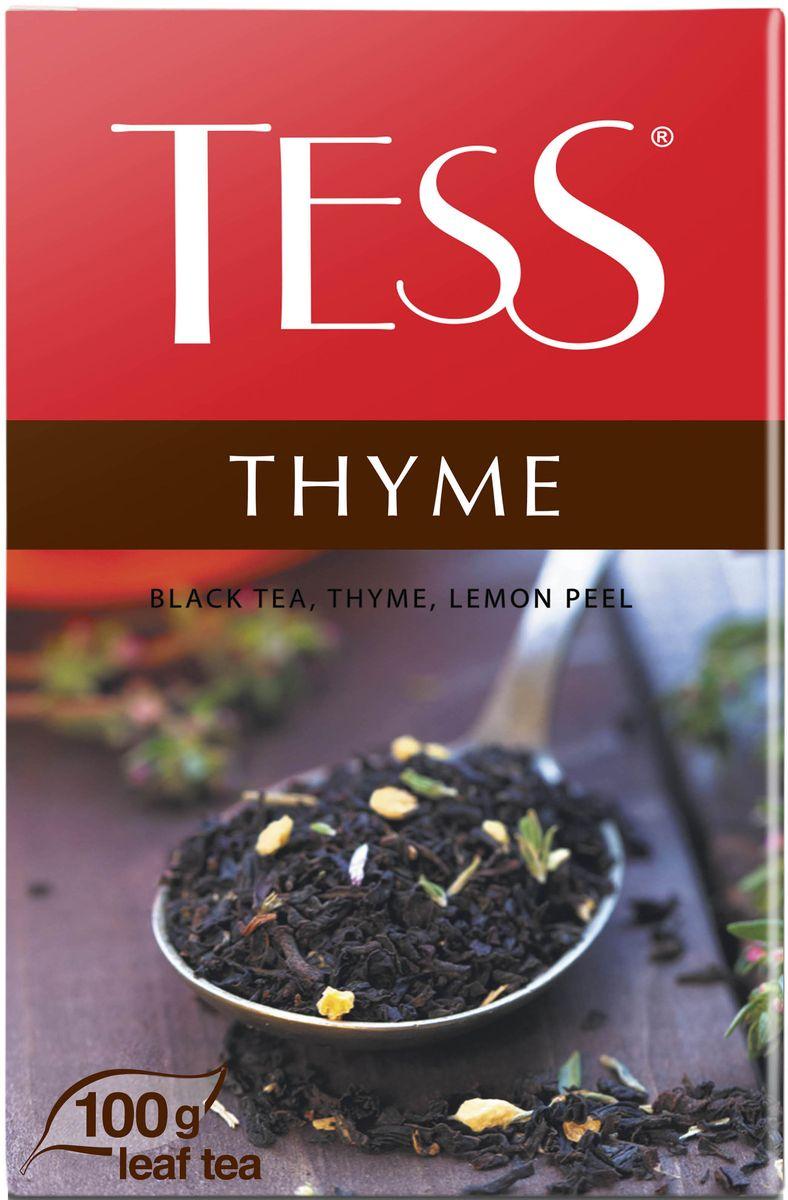 Tess Thyme черный листовой чай с чабрецом и цедрой лимона, 100 г0120710Пряный, душистый, чуть горьковатый горный чабрец прекрасно дополняет насыщенный вкус черного чая, собранного на плантациях Северной Индии, подчеркивая его терпкие оттенки.Деликатная цитрусовая кислинка вносит ноту свежести, завершая безупречно сбалансированную вкусовую гамму чайного купажа.