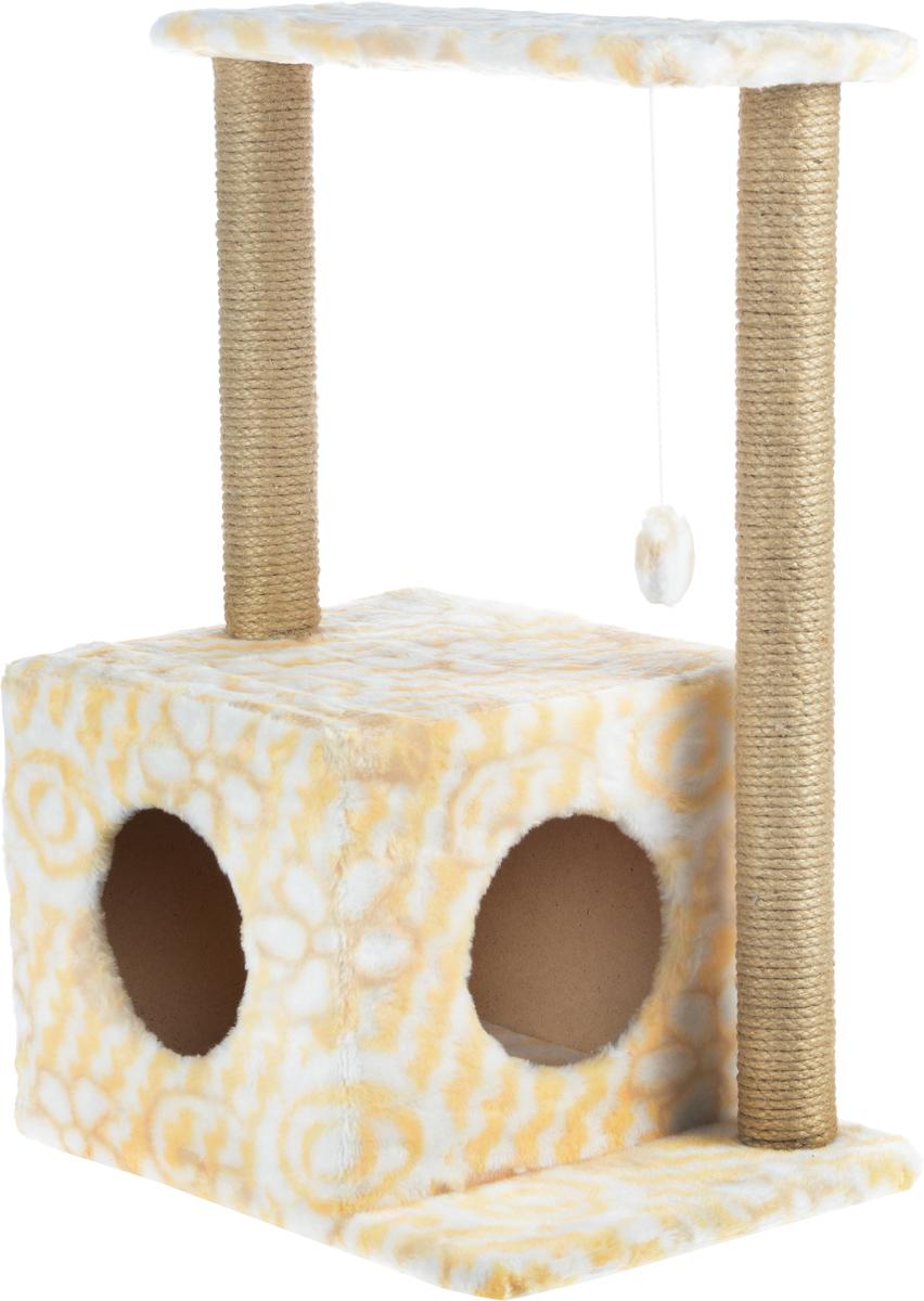 Домик-когтеточка Меридиан Квадратный, 2-ярусный, с игрушкой, цвет: белый, желтый, бежевый, 50 х 36 х 75 смД127ЦвДомик-когтеточка Меридиан Квадратный выполнен из высококачественного ДВП и ДСП и обтянут искусственным мехом. Изделие предназначено для кошек. Комплекс имеет 2 яруса. Ваш домашний питомец будет с удовольствием точить когти о специальные столбики, изготовленные из джута. А отдохнуть он сможет либо на полках, либо в уютном домике. Изделие снабжено подвесной игрушкой. Домик-когтеточка Меридиан Квадратный принесет пользу не только вашему питомцу, но и вам, так как он сохранит мебель от когтей и шерсти. Общий размер: 50 х 36 х 75 см. Размер домика: 37 х 37 х 34 см. Размер полки: 51 х 25 см.