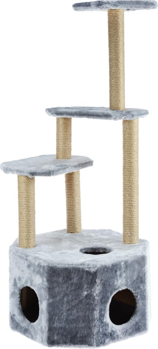 Домик-когтеточка Меридиан Высотка, 4-ярусный, цвет: светло-серый, 51 х 51 х 123 смД240ССДомик-когтеточка Меридиан Высотка выполнен из высококачественного ДВП и ДСП и обтянут искусственным мехом. Изделие предназначено для кошек. Комплекс имеет 4 яруса. Ваш домашний питомец будет с удовольствием точить когти о специальные столбики, изготовленные из джута. А отдохнуть он сможет либо на полках, либо в расположенном внизу домике. Домик-когтеточка Меридиан Высотка принесет пользу не только вашему питомцу, но и вам, так как он сохранит мебель от когтей и шерсти. Общий размер: 51 х 51 х 123 см. Размер домика: 51 х 51 х 32 см. Размеры полок: 42 х 25 см, 42 х 25 см, 25 х 25 см.