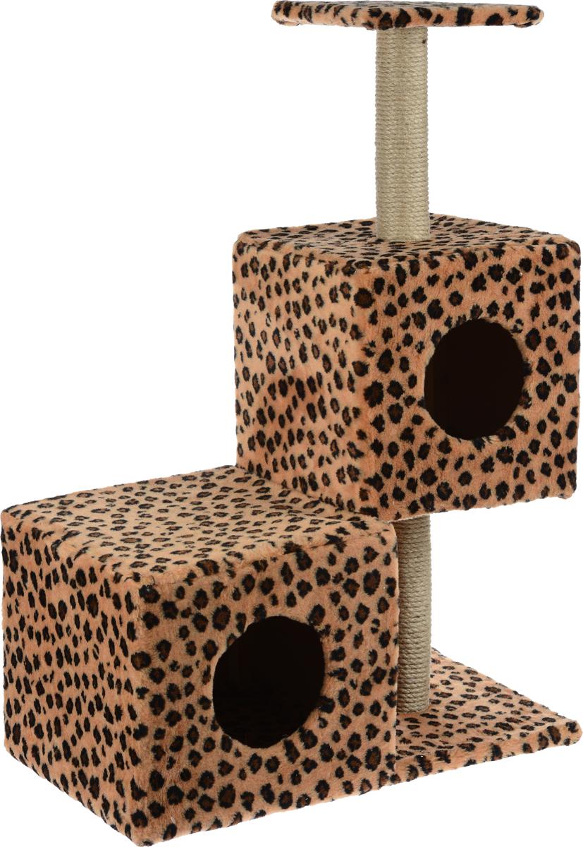 Домик-когтеточка Меридиан Разноуровневый, 3-ярусный, цвет: коричневый, черный, 66 х 36 х 94 смД133ЛеДомик-когтеточка Меридиан Разноуровневый выполнен из высококачественного ДВП и ДСП и обтянут искусственным мехом. Изделие предназначено для кошек. Комплекс имеет 3 яруса. Ваш домашний питомец будет с удовольствием точить когти о специальные столбики, изготовленные из джута. А отдохнуть он сможет либо на полке, либо в домиках. Домик-когтеточка Меридиан Разноуровневый принесет пользу не только вашему питомцу, но и вам, так как он сохранит мебель от когтей и шерсти. Общий размер: 66 х 36 х 94 см. Размер нижнего домика: 36 х 36 х 32 см. Размер верхнего домика: 32 х 32 х 32 см. Размер полки: 26 х 26 см.