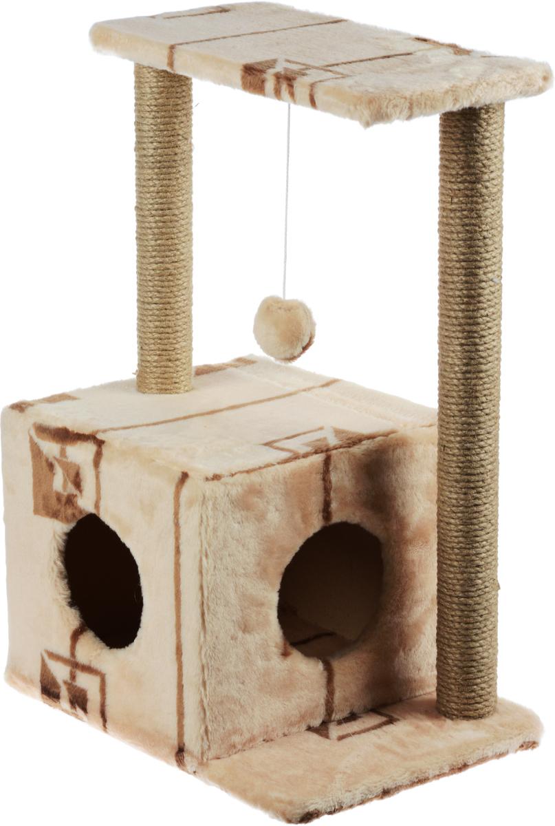 Домик-когтеточка Меридиан Квадратный, 2-ярусный, с игрушкой, цвет: бежевый, коричневый, 50 х 36 х 75 смД127ГДомик-когтеточка Меридиан Квадратный выполнен из высококачественного ДВП и ДСП и обтянут искусственным мехом. Изделие предназначено для кошек. Комплекс имеет 2 яруса. Ваш домашний питомец будет с удовольствием точить когти о специальные столбики, изготовленные из джута. А отдохнуть он сможет либо на полках, либо в уютном домике. Изделие снабжено подвесной игрушкой. Домик-когтеточка Меридиан Квадратный принесет пользу не только вашему питомцу, но и вам, так как он сохранит мебель от когтей и шерсти. Общий размер: 50 х 36 х 75 см. Размер домика: 37 х 37 х 34 см. Размер полки: 50 х 24 см.