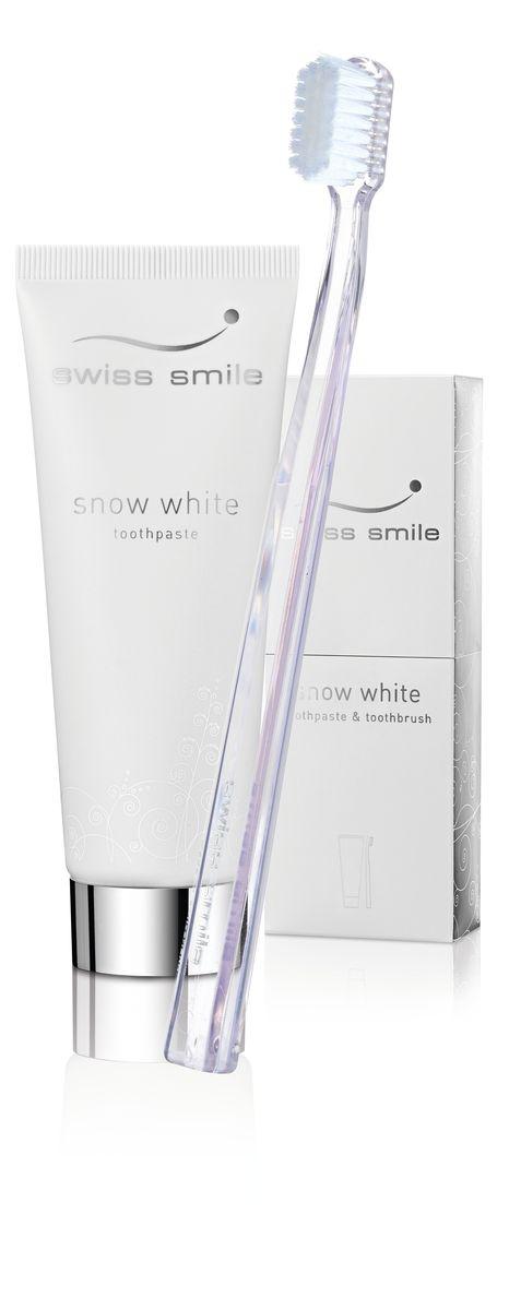 Swiss Smile Набор, состоящий из отбеливающей зубной пасты Snow White и отбеливающей зубной щетки976091-0091 отбеливающая зубная паста 75 мл, 1 отбеливающая зубная щётка прозрачного цвета , оригинальная упаковка