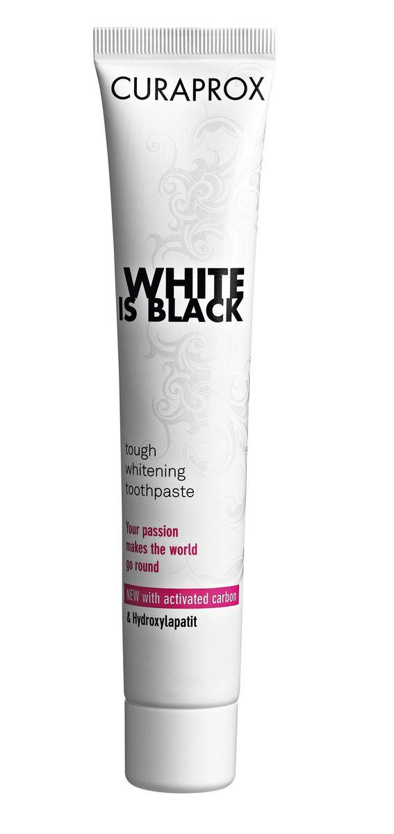 Curaprox White Is Black Отбеливающая зубная паста, 90 мл, вкус мяты4605845001470Активированный уголь поглощает вещества, которые вызывают изменение цвета зубов, в то время как гидроксиапатит укрепляет эмаль и делает зубы белоснежными. Ферменты усиливают защитные свойства слюны. Двойная защита от кариеса благодаря фторидам натрия. Зубная паста имеет вкус лайма. Противопоказания: не выявлено. Индекс абразивности RDA: 50. Номинальное количество: 90 мл.