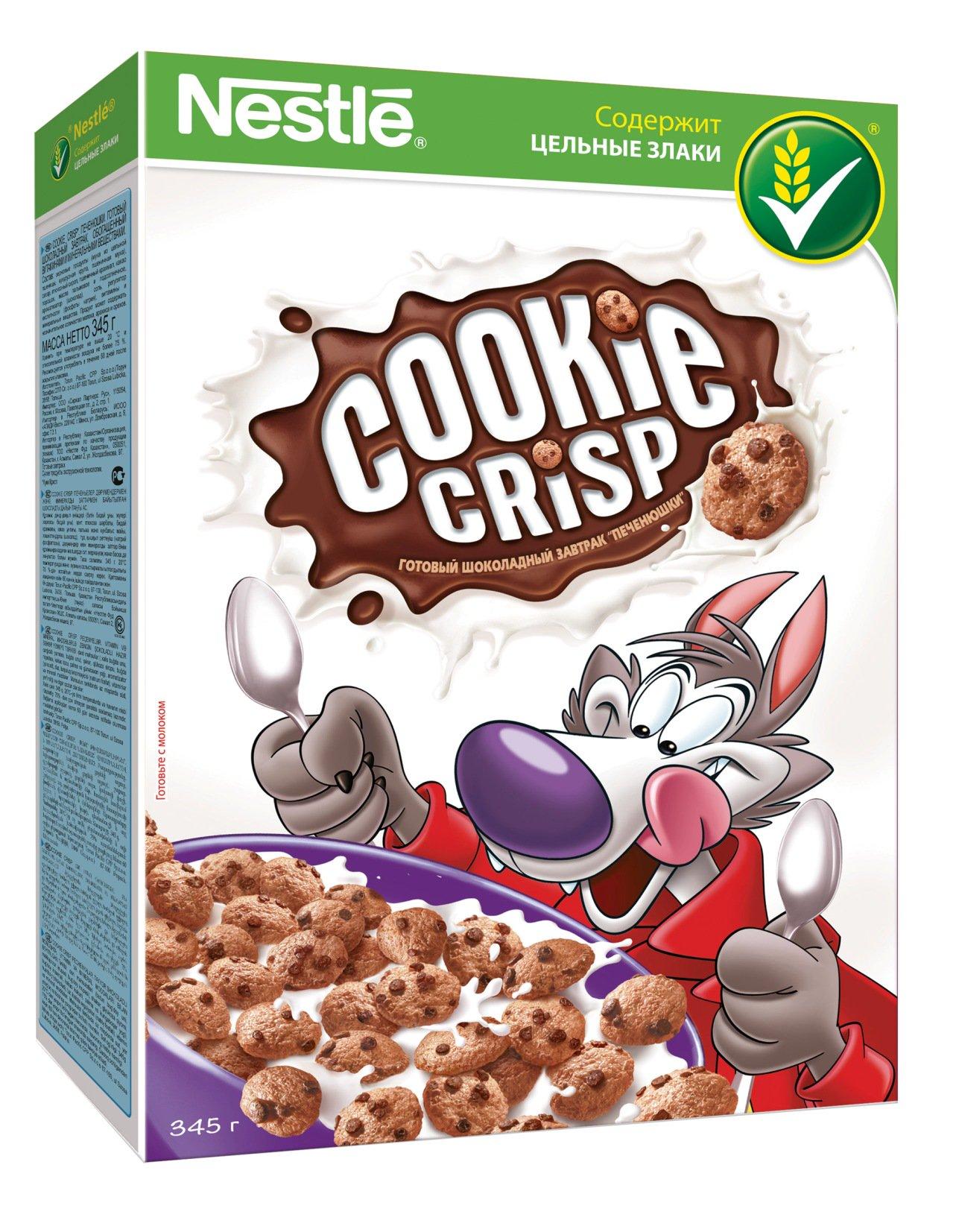 Nestle Cookie Crisp Печенюшки готовый завтрак, 345 г0120710Nestle Cookie Crisp - это вкусный и полезный готовый завтрак, который обязательно понравится и детям, и взрослым. Вкус печенья с молоком - одно из самых приятных детских воспоминаний для большинства людей. Cookie Crisp - это единственный готовый завтрак, который на вид и на вкус как печенюшки! Продукт несет в себе всю пользу цельных злаков, которые играют важную роль в рационе питания. Они от природы содержат полезные для здоровья вещества: сложные углеводы, витамины, минеральные вещества и клетчатку (пищевые волокна). Готовый завтрак Cookie Crisp прекрасно сочетается с молоком, йогуртом или кефиром. В каждой промо-коробке - игрушка на карандаш в виде пингвина.