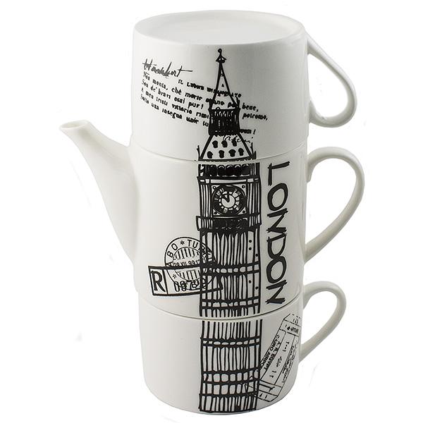 Чайник Эврика Лондон, с двумя кружками97460Не каждый сразу догадается, что керамическая башня на вашей кухне на самом деле представляет собой чайный сет. Чайник и две чашки, составленные пирамидкой, воспроизводят изображения знаменитых высоких достопримечательностей разных стран - башен, статуй, колоколен. Оригинальный дизайн и компактность - очевидные достоинства набора. Упаковка: картонная коробка Материал: керамика