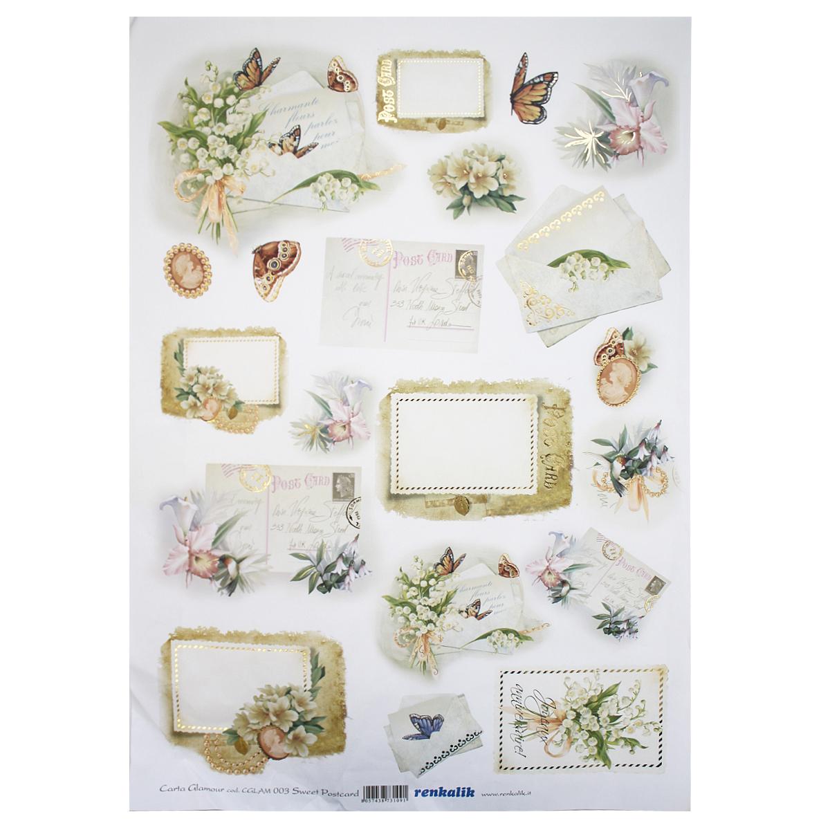 Рисовая бумага для декупажа Renkalik Почтовые конверты, 35 х 50 см7716542Бумага для декупажа Renkalik предназначена для декорирования предметов. Имеет в составе прожилки риса, которые очень красиво смотрятся на декорируемом изделии, придают ему неповторимую фактуру и создают эффект нанесенного кистью рисунка. Подходит для декора в технике декупаж на стекле, дереве, пластике, металле и любых других поверхностях. Плотность бумаги: 25 г/м2.
