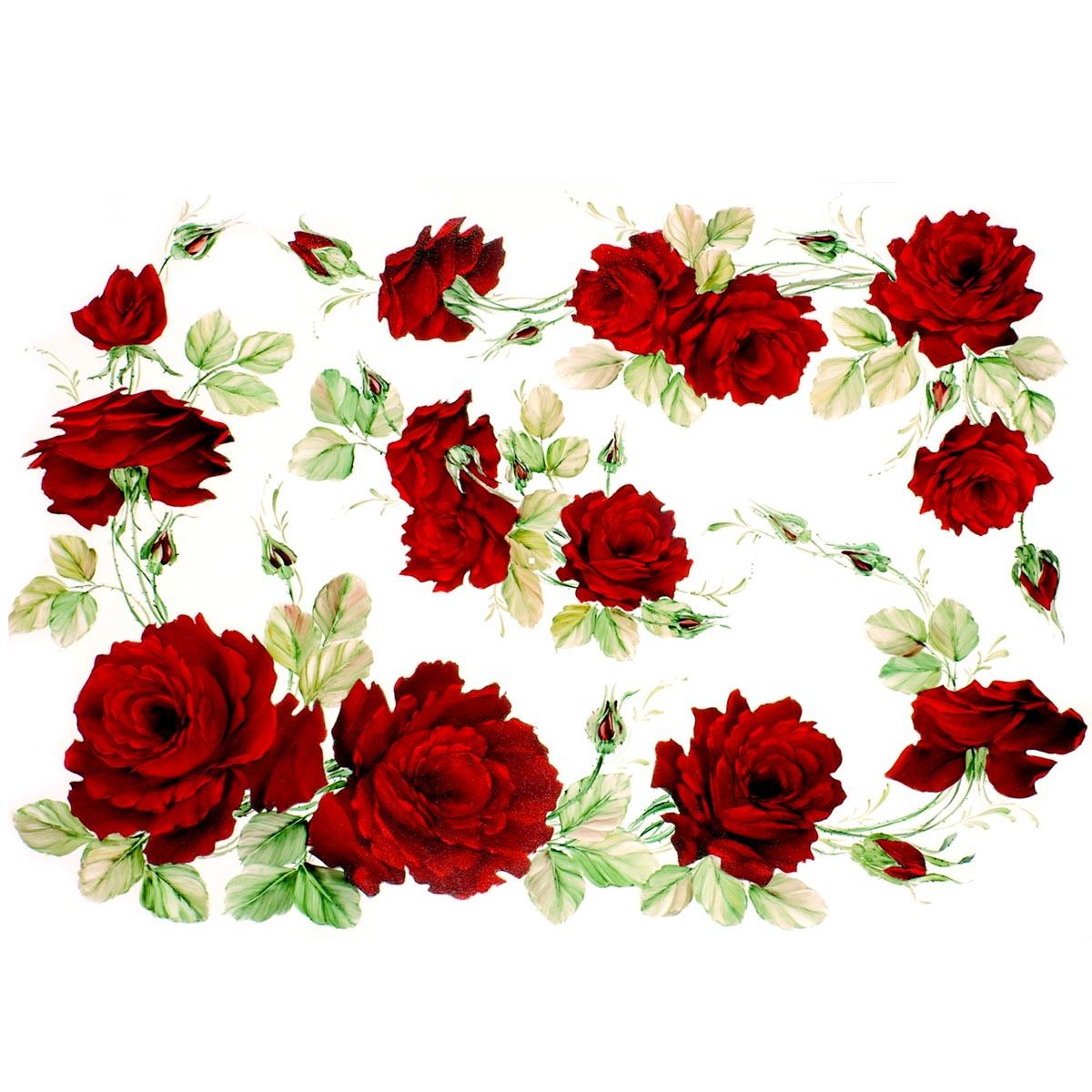 Рисовая бумага для декупажа Renkalik Красные розы, 35 х 50 см7716556Бумага для декупажа Renkalik предназначена для декорирования предметов. Имеет в составе прожилки риса, которые очень красиво смотрятся на декорируемом изделии, придают ему неповторимую фактуру и создают эффект нанесенного кистью рисунка. Подходит для декора в технике декупаж на стекле, дереве, пластике, металле и любых других поверхностях. Плотность бумаги: 25 г/м2.