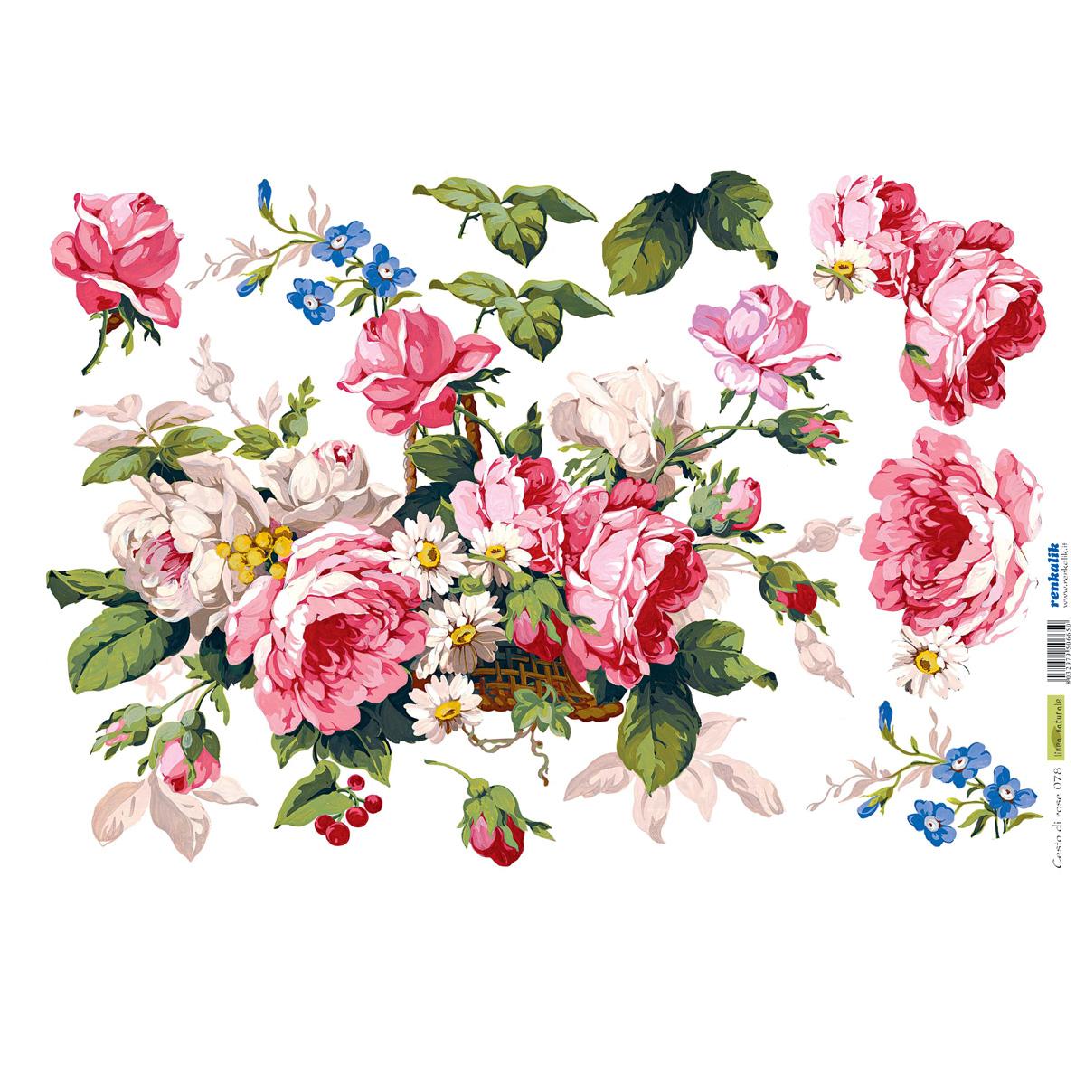 Рисовая бумага для декупажа Renkalik Корзина с розами, 35 х 50 см7716562Бумага для декупажа Renkalik предназначена для декорирования предметов. Имеет в составе прожилки риса, которые очень красиво смотрятся на декорируемом изделии, придают ему неповторимую фактуру и создают эффект нанесенного кистью рисунка. Подходит для декора в технике декупаж на стекле, дереве, пластике, металле и любых других поверхностях. Плотность бумаги: 25 г/м2.