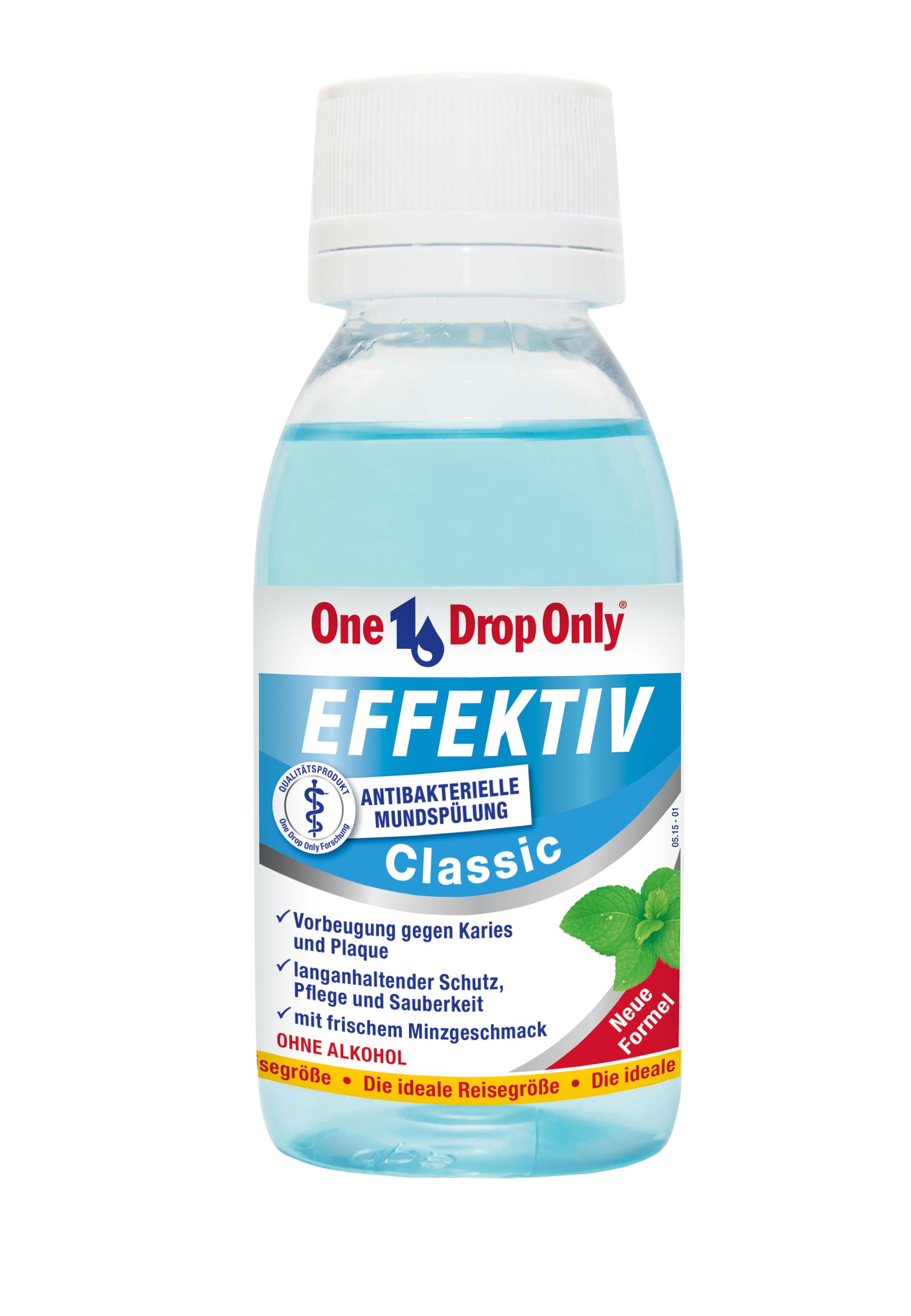 One Drop Only Effektiv Classic Антибактериальный ополаскиватель полости рта, 100 мл81603345Классический антибактериальный ополаскиватель полости рта