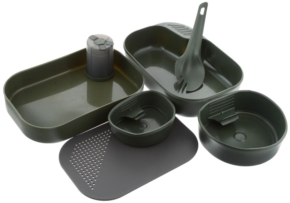 """Набор походной посуды Wildo """"Camp-a-Box Complete"""", портативный, цвет: темно-зеленый, 7 предметов W10264"""