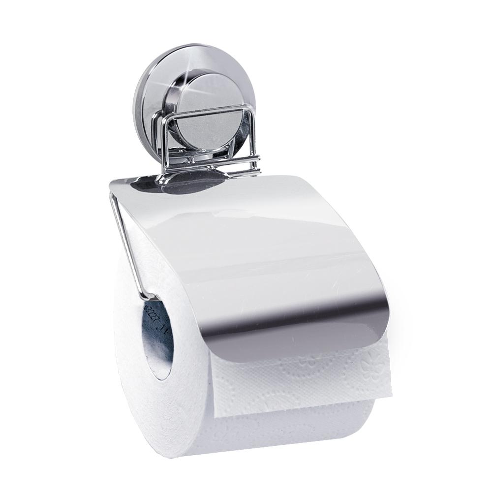 Держатель для туалетной бумаги Tatkraft Wild Power, настенный, с крышкой17139Tatkraft Wild Power Держатель для туалетной бумаги настенный с крышкой, 21x16x6 см, хромированная сталь, крепление: вакуумная присоска O 65мм, в блистере
