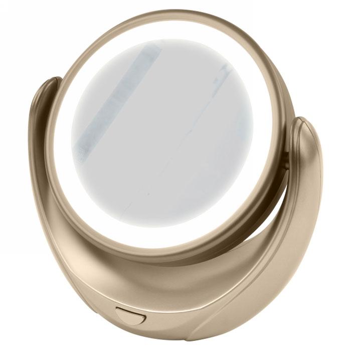 Marta MT-2653, Gold Pearl зеркало с подсветкойL08-8Marta MT-2653 - стильное и элегантное настольное зеркало с подсветкой и пятикратным увеличением отражения одной из поверхностей. Идеально подходит для тщательного нанесения макияжа и ухода за кожей лица. Зеркало позволяет изменять угол наклона для достижения максимального удобства, а также имеет две зеркальные стороны, одна из которых обладает свойством пятикратного увеличения отражения, что особенно важно при кропотливой работе с участками лица, требующими наиболее тщательного внимания. Круговая подсветка по контуру зеркала Marta MT-2653 нормализует и выравнивает освещение, позволяя детально разглядеть все нюансы отражения. Для полноценной работы зеркала используются распространенные элементы питания типа АА на 1,5 В, одного комплекта которых хватит на длительный срок эксплуатации. Простота использования и очистки, функциональность, сопровождающаяся особым комфортом, делают настольное зеркало незаменимым аксессуаром для ухода за лицом и в домашних условиях, и в путешествии.