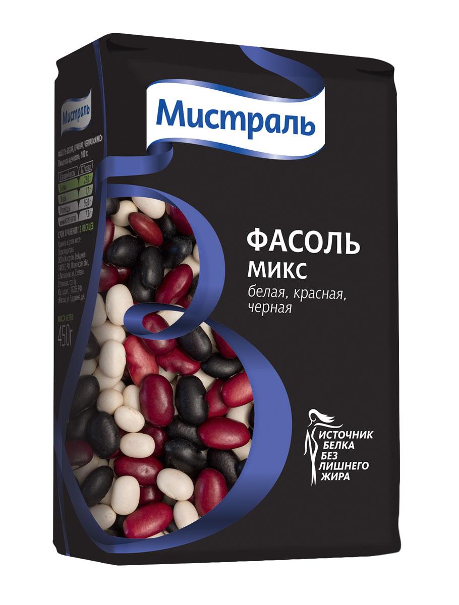 Мистраль Фасоль белая, красная, черная Микс, 450 г12346Все три вида фасоли имеют одинаковое время приготовления, рекомендуется использовать при приготовлении супов, салатов, рагу.