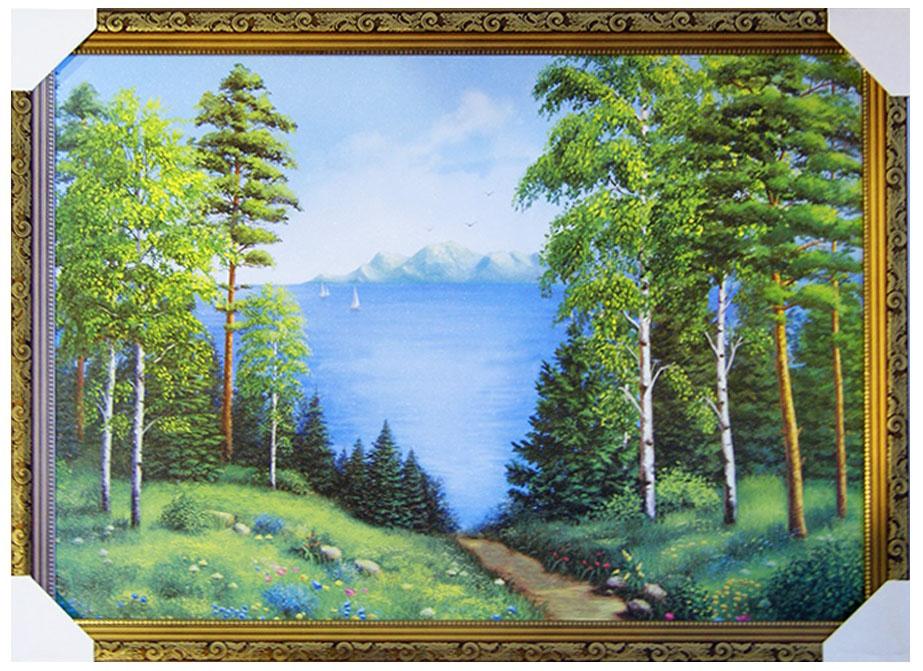 Картина в раме Proffi Home Лесное озеро, 50 х 70 смВ254Картина Proffi Home поможет украсить интерьер. Картина оформлена в красивую деревянную рамку коричневого цвета с золотым декором. Фотопечать на бумажном постере с тиснением. Металлические петли, винты для подвешивания картины в комплекте. Размер картины: 50 х 70 см.