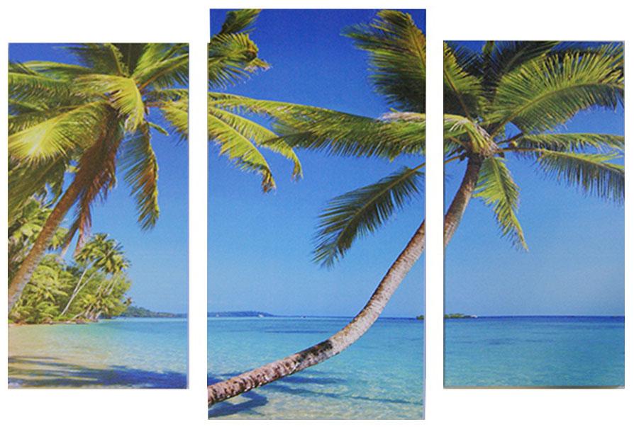 Картина модульная Proffi Home Райский остров. Триптих, 60 х 100 смТР9Композиция из трех частей. Материал: подрамник МДФ, фотопечать на текстурном холсте, УФ-лак. Упаковка: картонная подложка, п/э термоусадка. Вес 2,10кг