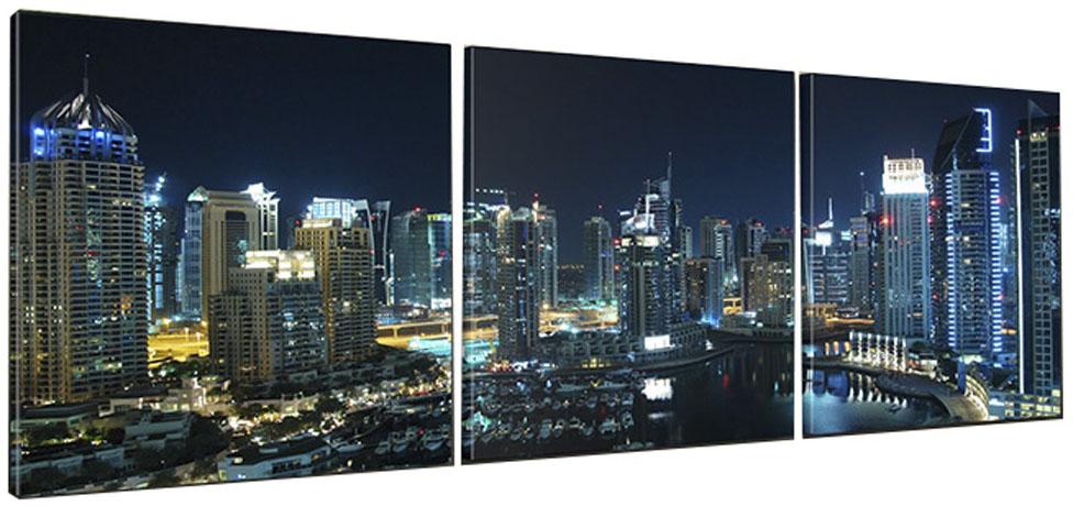 Картина модульная Proffi Home Панорама ночного города. Триптих, 50 х 150 смКВ19Композиция из трех частей размером 50х50см. Материал: подрамник МДФ, фотопечать на текстурном холсте, УФ-лак. Упаковка: картонная подложка, п/э термоусадка. Вес 2,68кг