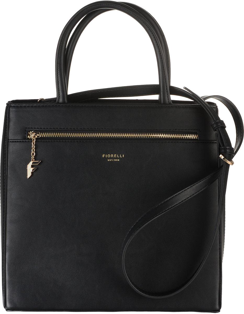 Сумка женская Fiorelli, цвет: черный. 8513 FH8513 FH BlackСтильная женская сумка Fiorelli выполнена из мягкой эко-кожи. Сумка имеет одно основное отделение, закрывающееся на застежку-молнию. Внутри находится прорезной карман на застежке-молнии и четыре накладных открытых кармана. Снаружи, на передней стенке размещен прорезной карман на застежке-молнии. Дно сумки дополнено металлическими ножками. В комплекте к сумке идет миниатюрный клатч, который застегивается на застежку-молнию и дополнен ремешком для запястья.