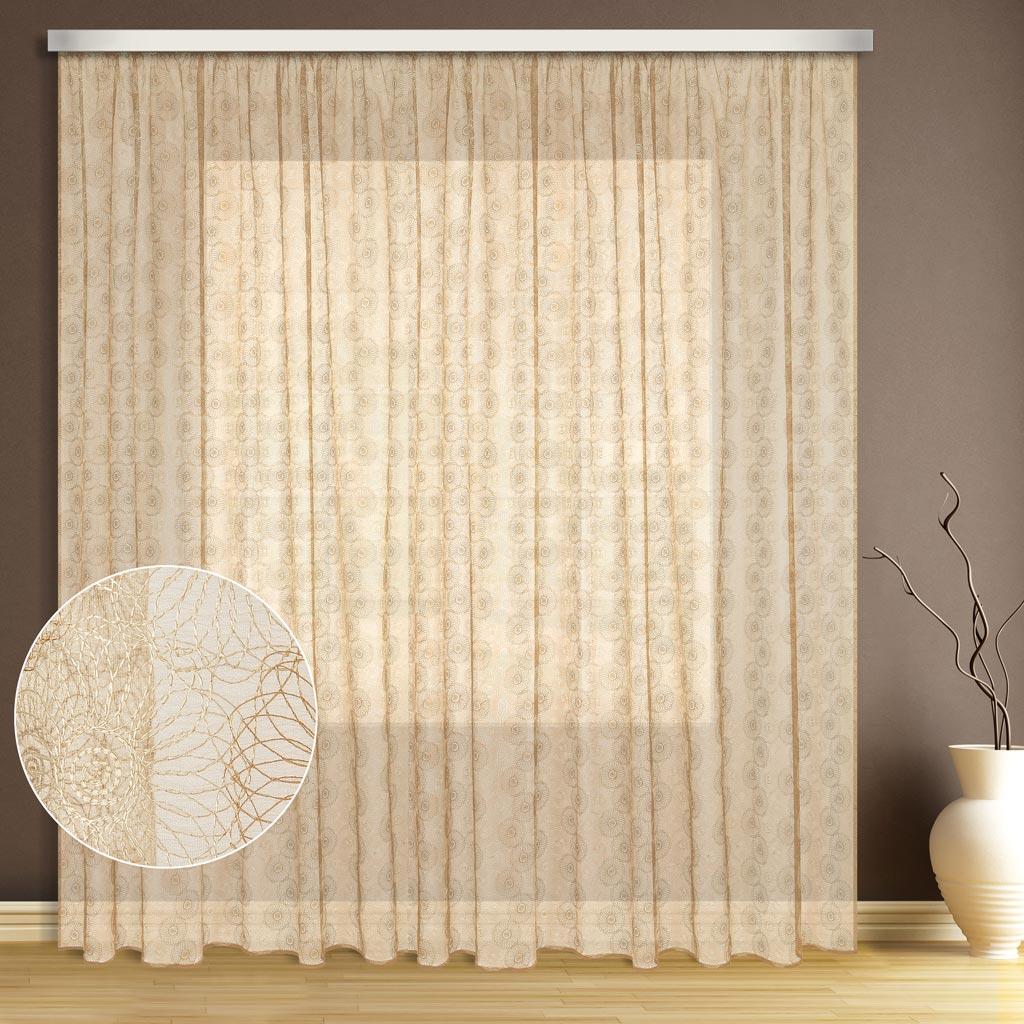Тюль ТД Текстиль Цветок, цвет: экрю, высота 270 см89534Эта тюль выполнена на сетке с полным заполнением вышивкой, может использоваться в интерьере без дополнительных штор